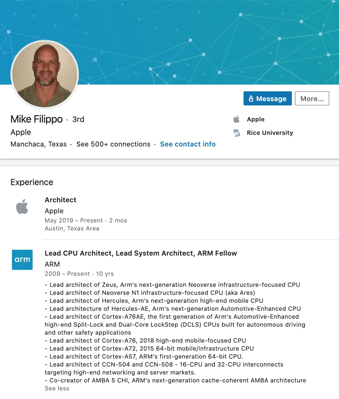 Apple Hires Arm Lead Cpu Architect Mike Filippo Img 1