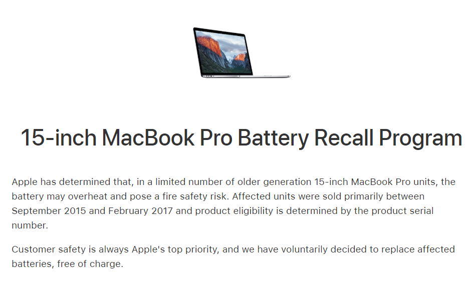 Macbook Pro 15 Inch Battery Recall Program Img 1