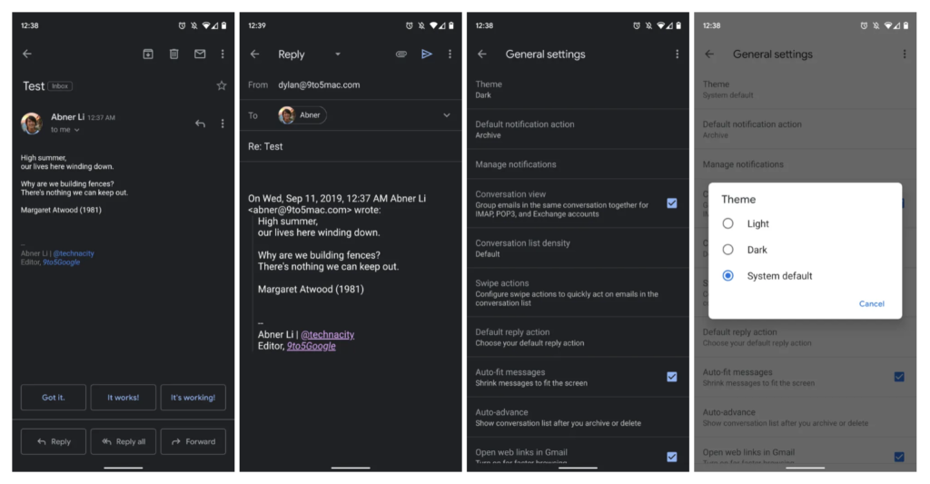 Gmail Rolling Out Dark Theme Ios Android 2
