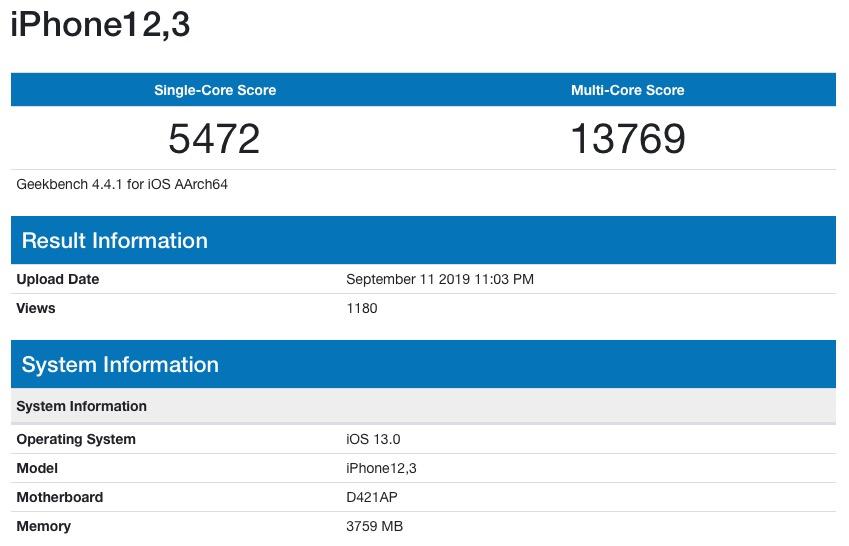 Iphone 11 Pro Alleged Geekbench