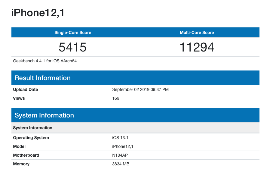 Iphone 11r Geekbench Score Spot Ram 4gb Img 1