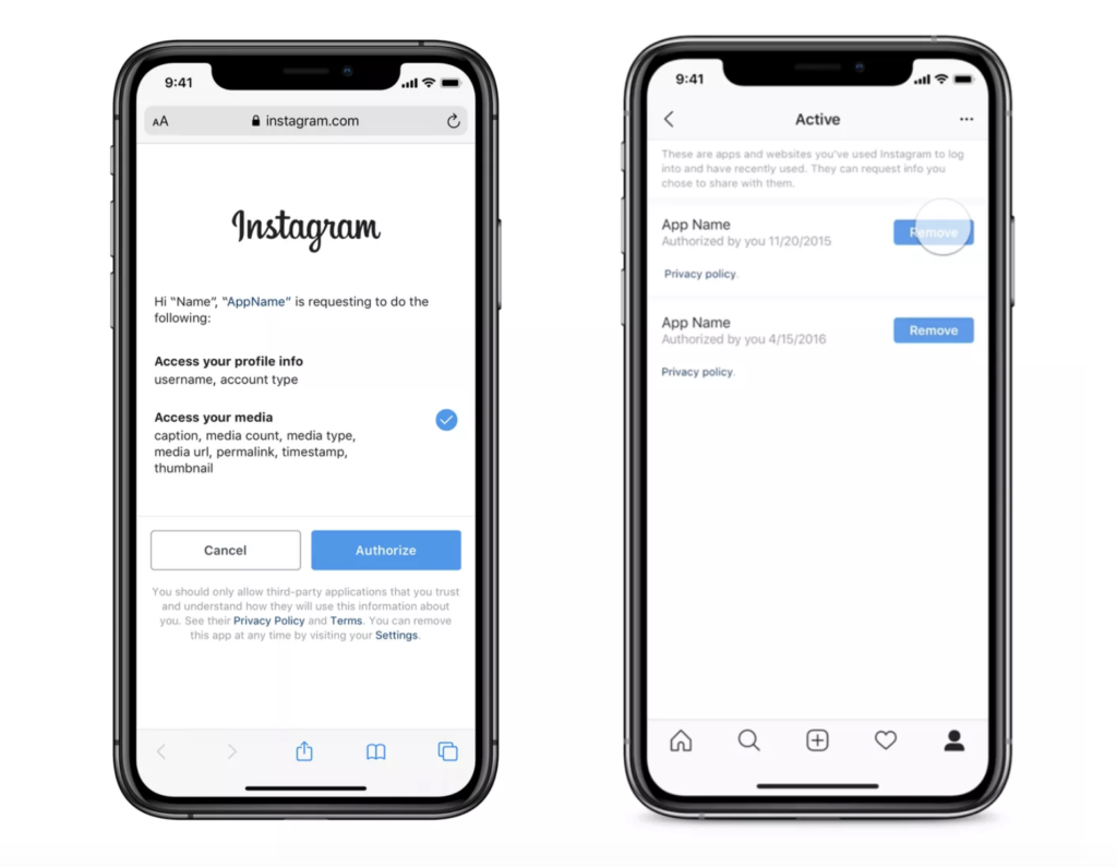 Instagram Add Privacy Website Third Party App Permissions 2