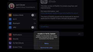 Ipad Pro Ios 13 2 Beta 2 Update Unavailable