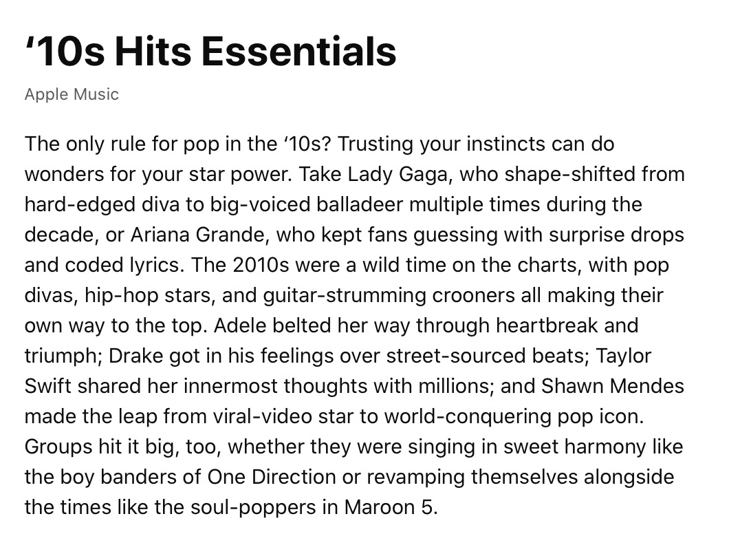 Apple Music 10s Essential Hits