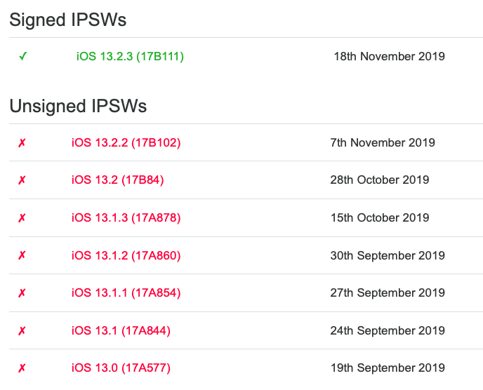 Apple Stop Signing Ios 13 2.2 Img 1