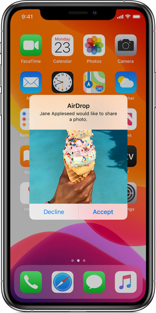 Ios13 Iphone Xs Airdrop Accept Prompt