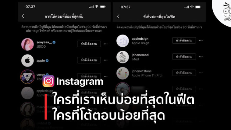 Instagram Now Shows Who Interact With Least Most