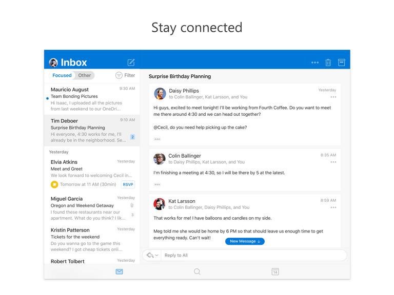Microsoft Outlook Update Support Split View Ipad 1