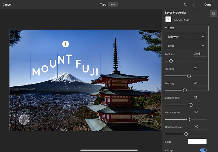 Photoshop Version 1 2 0 Released Ipad Include Object Select And Type Properties Img 3