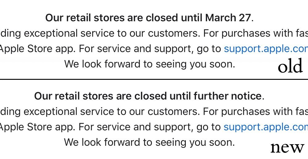 Apple Website Banner Retail Stores Are Closed Until Further Notice Img 1